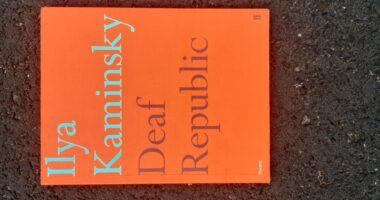 """Pomarańczowa okładka książki z napisem """"Ilya Kaminsky Deaf Republic""""."""