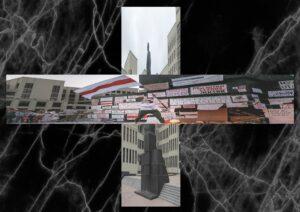 Czarne tło przerywane białymi liniami. Naśrodku dwa zdjęcia złożone wkrzyż. Nazdjęciu pionowym widać szary pomnik, przysłonięty zdjęciem poziomym, które przedstawia osobe wymachującą flagą białoruską.
