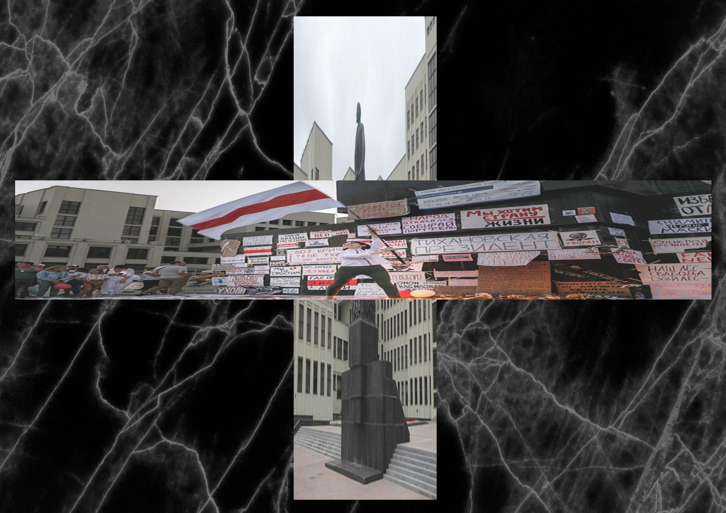 Czarne tło przerywane białymi liniami. Na środku dwa zdjęcia złożone w krzyż. Na zdjęciu pionowym widać szary pomnik, przysłonięty zdjęciem poziomym, które przedstawia osobe wymachującą flagą białoruską.